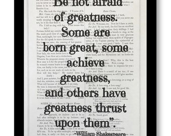 "William Shakespeare Play Quote Prints, "" Be Not Afraid Of Greatness,""Shakespeare Play Twelfth Night, Vintage Shakespeare Book Page 7x10"