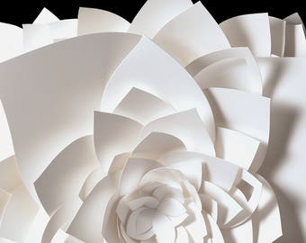 "8x10"" Wall Art, Lotus White and Black Flower Fine Art Photo Print, paper sculpture"