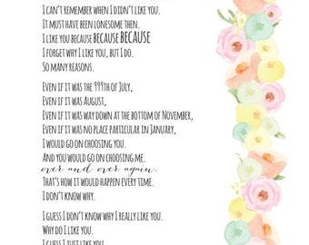 I Like You print | Sandol Stoddard Warburg | watercolor flowers | 8x10 | digital download | printable