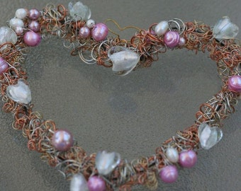 Heart:  a mothers day heart wreath  pink white pearls dichoric glass wedding bridal romantic  OOAK gift mother's day
