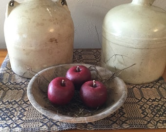 Small Red Beeswax Apples~Set of 3~ #519  Bowl Fillers