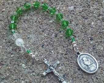 St Gabriel Green Beaded Pocket Rosary