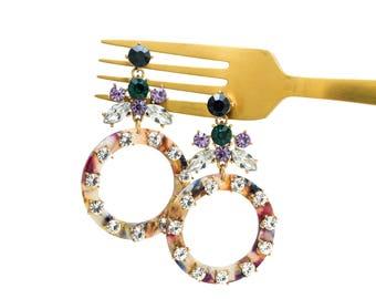 Crystal Lucite Hoop Drop Earrings, Gemstone Hoop Earrings, Baroque Style Earrings, Multi Gemstone Earrings, Statement Earrings,