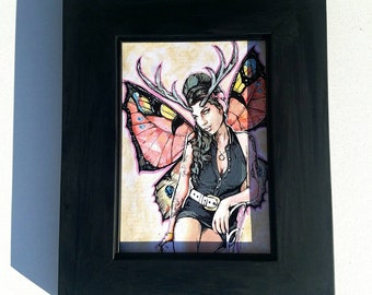 FAIRY Amy Winehouse - framed original painting Butterfly Wings and Antlers