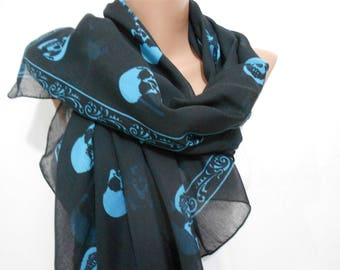 Skull Scarf Day of the Dead Scarf Cotton Scarf Halloween Scarf Blue Skull on Black Scarf Shawl Winter Scarf Accessory Gift For Women
