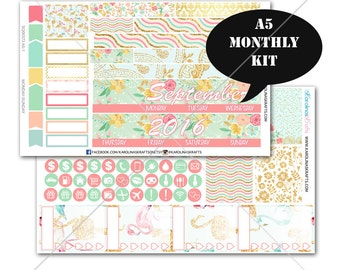 A5 Planner Stickers, Summer Blossom MONTHLY Planner Kit, Sew Much Crafting Stickers, Monthly Sticker Kit #SQ00373-A5