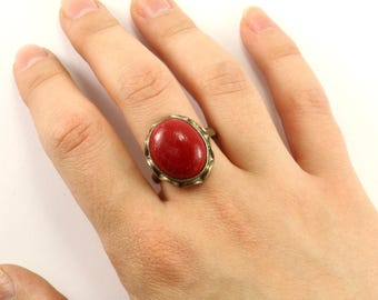 Vintage Oval Red Jasper  Ring 925 Sterling Silver RG 1309