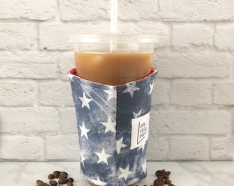 Coffee Cozy, Cup Sleeve, Iced Coffee Cozy, Insulated Cup Sleeve, Flag Cozy, Patriotic, Fabric Cozy