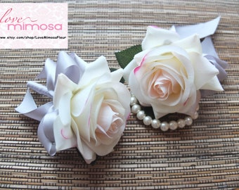 Wrist Corsage, Blush Pink Rose with silver ribbon Corsage