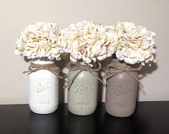 Mason Jar Decor, Painted Mason Jars, Mason Jar Gifts, Rustic Home Decor, Rustic Mason Jar Decor, Farmhouse Decor, Shabby Chic