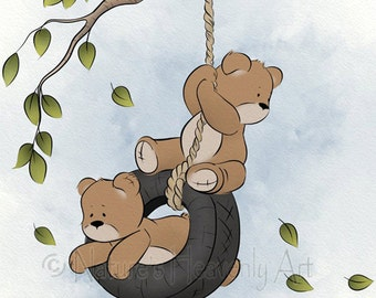 11 x 14 Girls or Boys Room Art Print, Swinging Teddy Bear Decor Childrens Wall Art, Cute Nursery Art  (154)