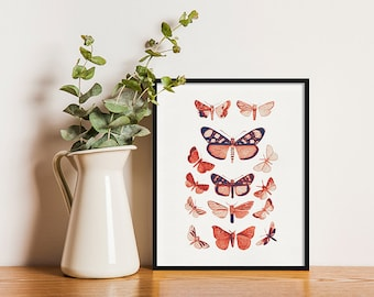 Butterfly Print, Vintage Illustration, 8x10 Print, 5x7 Print, Wall Art, Home Decoration, Birthday Gift, Housewarming Gift, Gift for mum