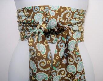 Kimono Obi Belt Sash One Size Brown