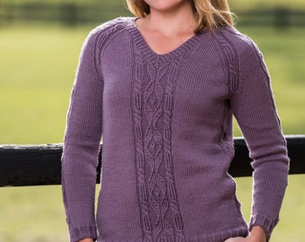 PDF Knitting Pattern Top-Down Cable and Diamond Pullover #189