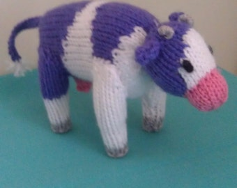 Toy Cow, plush toy, stuffed toy, childrens toy, knitted toy,