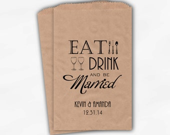 Eat Drink and Be Married Kraft Paper Candy Buffet Bags in Black - Personalized Custom Silverware Favor Bags - Paper Treat Bags (0117)