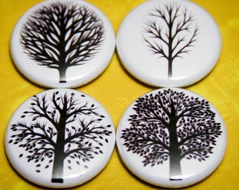 """Trees Set of 4 - 1"""" Pin Back Buttons or Magnets"""