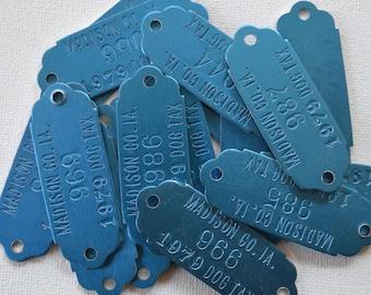 Vintage 1979 Blue Metal Madison Iowa Dog Numbered Tags Unused