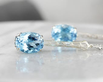 Long Blue Topaz Filigree Drop Earrings 7Q45C2-N