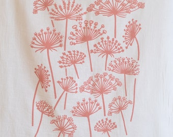 Flour Sack Dish Towel - Queen Anne's Lace: Dusty Rose or Green