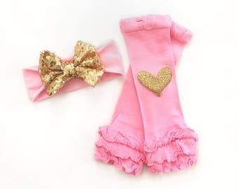 Baby Headband, Pink Headband, Baby Leg Warmers, Baby Girl Leg Warmers, Pink Leg Warmers, Gold Sequin Headband, Leg Warmer Headband Set