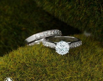 Engagement Ring Set, Ring With Diamonds, Diamond Engagement Wedding Set, Preset Engagement Rings, Half Eternity Ring | LDR02451