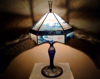 The Vintage Blue & Cream Swirl Stained Glass Shade on Silver Fleur de Lis Base Lamp