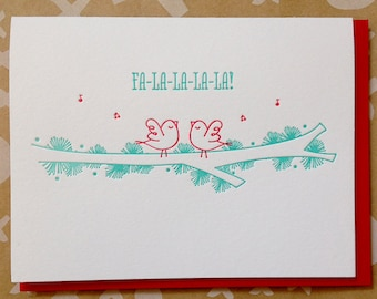 Letterpress  holiday cards - Set of 6 Holiday cards - Fa-la-la-la-la Bulk holiday cards