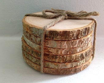 Round Wood Coasters Rustic Wooden Coasters Wood Slice Coasters Tree Bark Slice Tree Slices Wood Slice Reclaimed Wood Coasters Rustic Coaster
