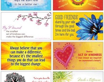Pack of 8 Positive Outlook Magnet Quotes Set - Motivational Quotes, Affirmations, Positive Thinking