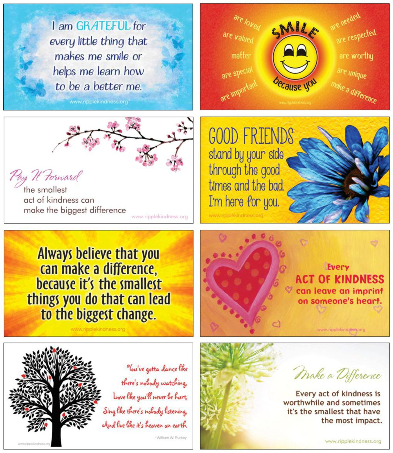 Pack Of 8 Positive Outlook Magnet Quotes Set Motivational