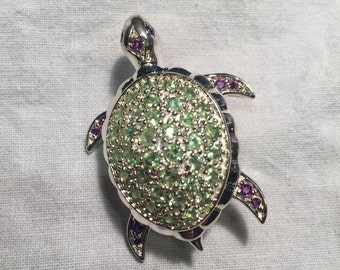 Vintage Handmade peridot Tourmaline Sterling Silver Turtle Brooch