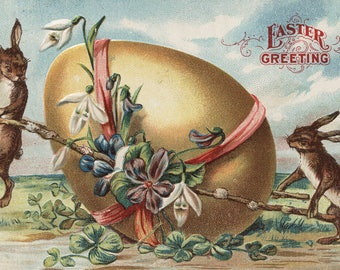 Easter Greetings - Rabbits by a Decorated Egg (Art Print - Multiple Sizes Available)