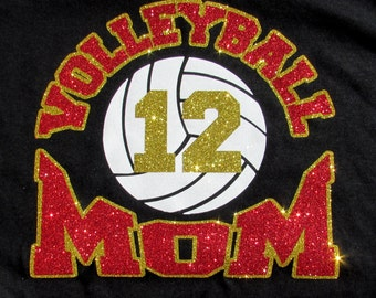 """VOLLEYBALL Mom Black Glitter Bling T-Shirt with """"VOLLEYBALL MOM"""" in Sparkling Glitter with Your Players Number and Your Choice of Colors"""
