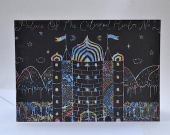 Celestial Palace Illustration Print Greeting Card