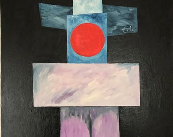 A circle and a cross, oil painting, wall art, geometry, abstract painting