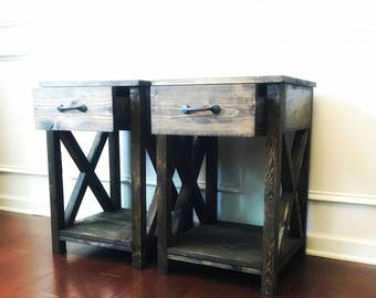 Nightstand /side table/ end table/ for the home/ bedroom/ living room/ x table/ farmhouse table/rustic nightstand