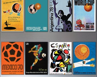 Football World Cup Posters vintage fridge magnets set of 8