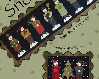 Seven Snowmen - Primitive wool applique pattern - Table runner or penny rug- Bonnie Sullivan - Flannel or Wool applique