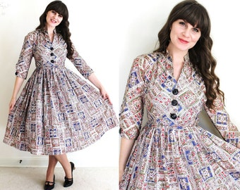 1950s Dress / 50s Dress / 50s Folk Print Full Skirt Dress