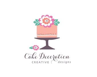 Cake logo, baking logo, food logo, pre-made logo, cafe logo, business logo, pretty logo, wedding cake, cake decorating.