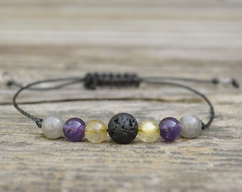 Anxiety Bracelet, Diffuser Bracelet, Rutilated Quartz, Amethyst, Labradorite, Essential Oil Bracelet, Yoga Bracelet, Meditation Bracelet