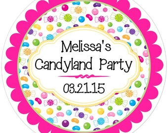 Candy Birthday Labels, Candy Stickers, Candy Shoppe Birthday Decoration, Personalized Children Stickers