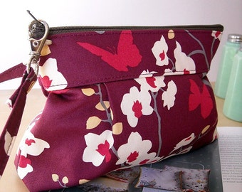 Orchid in Mulberry  - Zipper Pouch with Clip