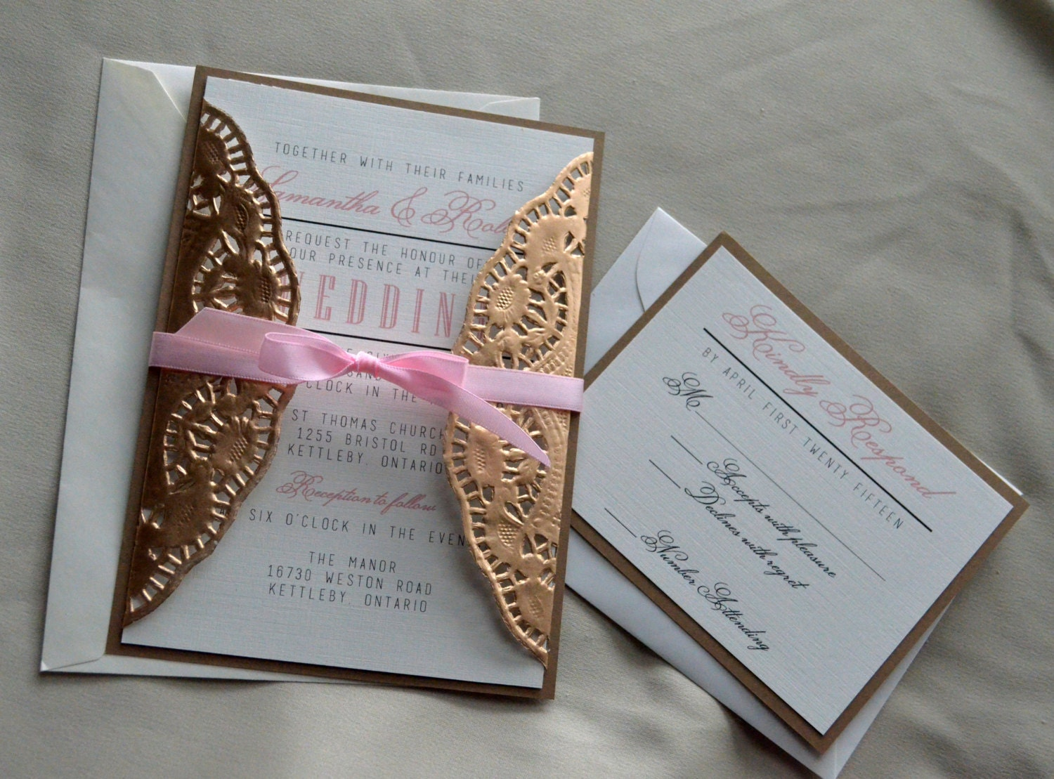 Set of 50 gold doilies wedding invitation gold and pink zoom monicamarmolfo Gallery