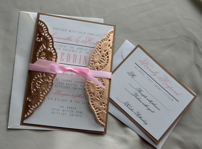 Gold Doilies Wedding Invitation Hollywood Glam Wedding