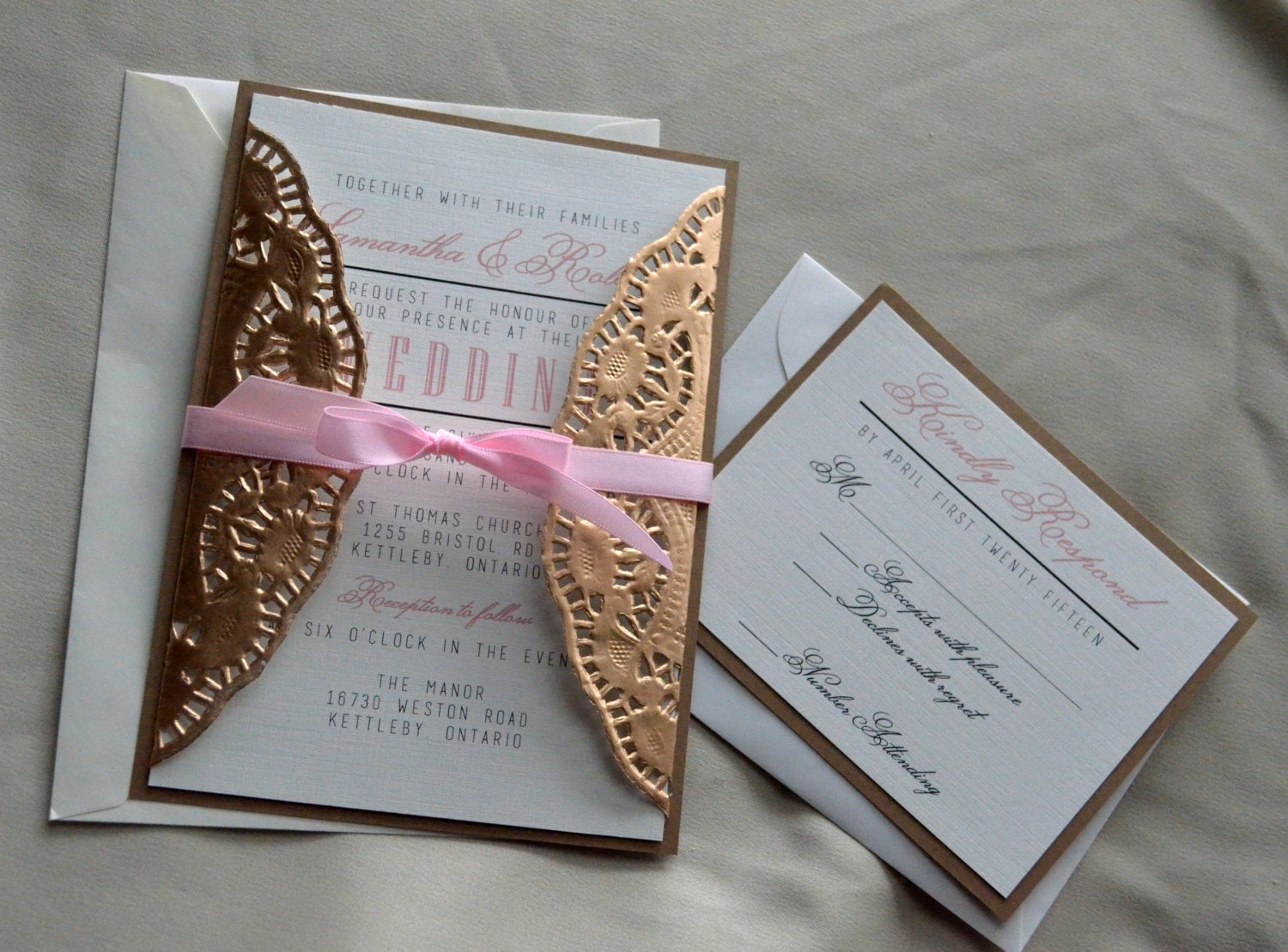 Unique Gold Doilies Wedding Invitation Hollywood Glam Wedding FR53
