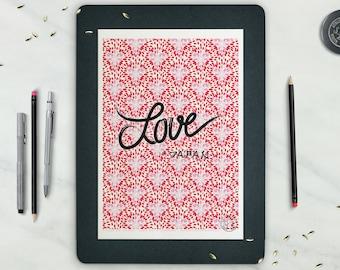 Affiche LOVE JAPAN - Poster Typo, Affiche Fleur Cerisier, Affiche Rose Rouge - affiche deco, impression, Illustration, Art mural, déco japon