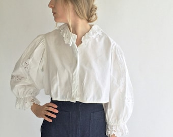 Vintage White Puff Sleeve Shirt | Crop Lace Eyelet Folk Blouse | Gathered Cotton Puffy Puff Pouf Sleeves | Provence Romantic