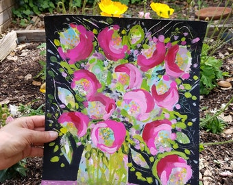 pink roses in a vase,  abstract floral painting on paper